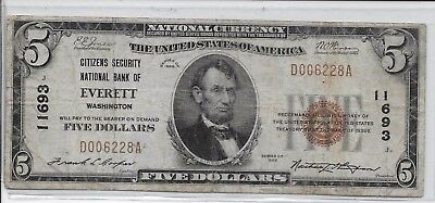 1929 $5 Everett Washington Citizens Security, National Currency Ch #11693