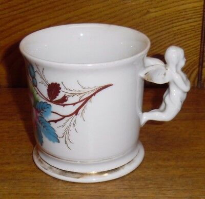 Antique Porcelain Mug - Hand Painted Floral - Angel Handle - 3 3/8""