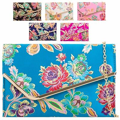Ladies Floral Satin Clutch Bag Ethnic Flower Evening Bag Purse Handbag KH2148