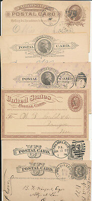 1870's-1900s Lot of 14 Od USA Postal Cards UX3 thru UX9 era Town Cancels Variety