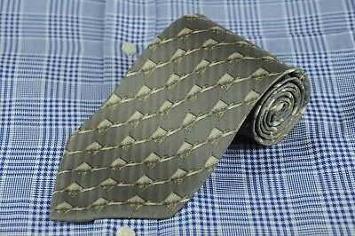 Valentino Cravatte Men's Tie Gray Geometric Stripes Silk Necktie 57 x 3.75 in.