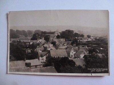 Vintage Postcard Church And Vicarage Clun 1921 Real Photograph (H)