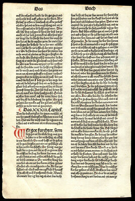 1483 Incunable Bible Leaf Apocryphal Book of Sirach (Ecclesiasticus) Koberger