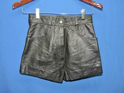 Vintage XS S Black Leather Shorts Mini Short Classic Rise At Waist Pockets Lined