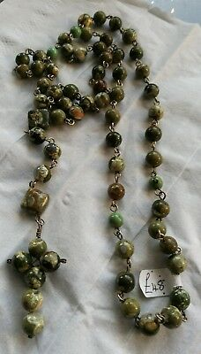"""Rosary Bead Necklace Handcrafted Rhyolite Green, 30"""" Necklace Plus Cross Drop."""