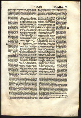 1497 Large Incunable Bible Leaf Old Testament Book of Ruth 4 Ruth & Boaz