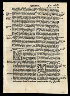 New Testament 1519 Latin Bible Leaf  Gospel of John 17-19 Crucifixion of Jesus