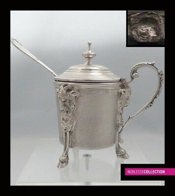 FINE ANTIQUE 1860s FRENCH STERLING SILVER MUSTARD POT & SPOON Louis XVI style