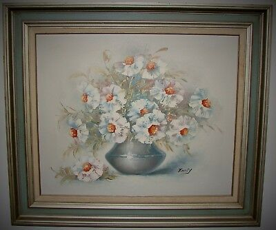 Oil On Canvas Framed Painting White Floral Flowers Still Life Signed Emily