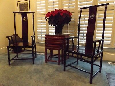 Chinese Ming Style Hand-Carved Rosewood Yoke-Back Arm Chair w/ Silk Cushions