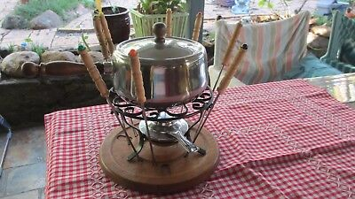 Vintage Fondue set Pot with Lid,Stand,Tray Metho Burner & 8 Fondue Forks
