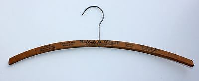 OLD Wood Clothes Hanger BLACK & WHITE CLEANERS & DYERS Sycamore PH 9-1512 CA