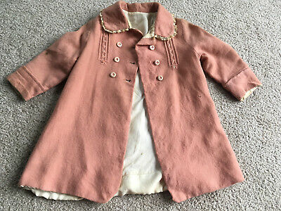 Baby Wool Silk Blend Coat Jacket smocked children's Vintage Antique large doll