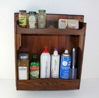 Vintage Solid Oak Kitchen 2 Shelf Spice Cabinet Bathroom Multi Purpose Wall Unit