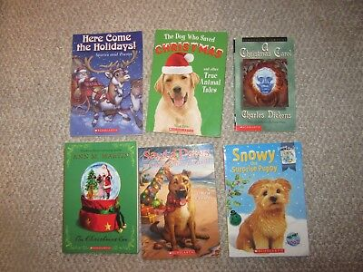Lot of 6 Children Kids Christmas Chapter Books On Christmas Eve Snowy the Puppy