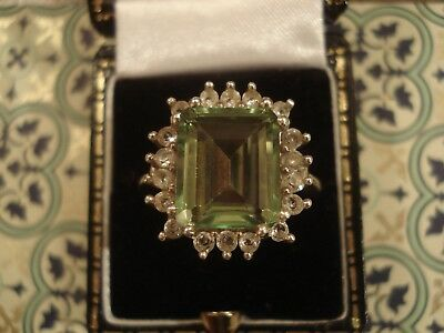 Pretty Antique Inspired; Emerald Cut Green Stone & Crystals Sterling Silver Ring