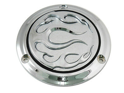 Chrome 3-Hole Flame Derby Cover fits Harley Davidson,V-Twin 42-0470
