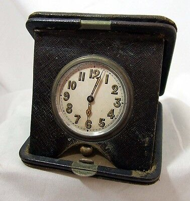 1920s Zingraff Travel Clock in Brown Leather Snap Shut Case Paris France WORKING