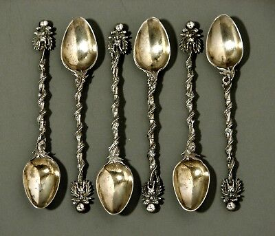 """Chinese Export Silver Spoons  (6)   Cumshing          """"ENTWINED DRAGON HANDLES"""""""