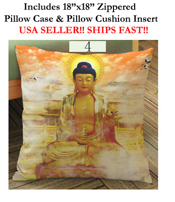 "18x18 18"" BUDDHA MEDITATION ZEN YOGA POSE Pilates Zippered Throw Pillow Cushion"