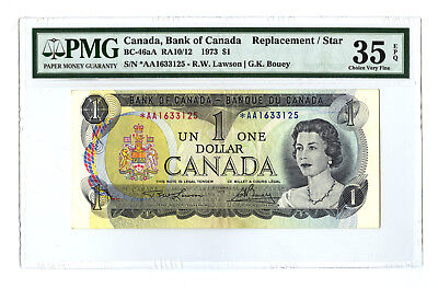 1973 $1 BANK OF CANADA PMG 35 EPQ BC-46aA RA10/12 REPLACEMENT STAR AA BANKNOTE
