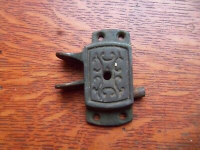 Antique Fancy Brass Spring-Loaded Railroad Window Side Sash Lock