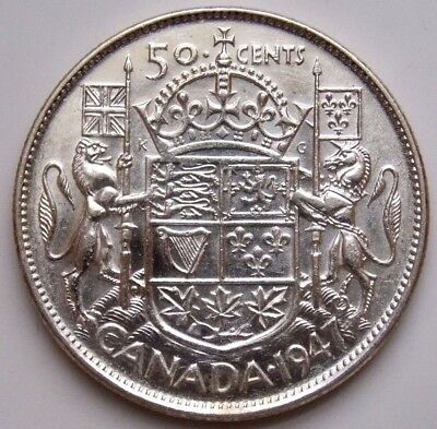 1947  Canada Canadian 50 Cent Silver Coin King George VI