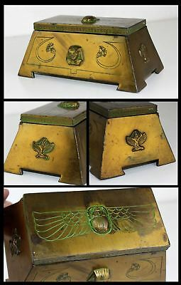 Egyptian Phoenix Pharaoh Scarab Beetle Benedict Brass Jewelry Casket Cache Chest