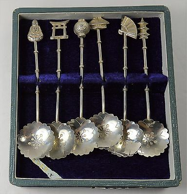Japanese Coffee 6 Spoon Sterling Silver Set With Box