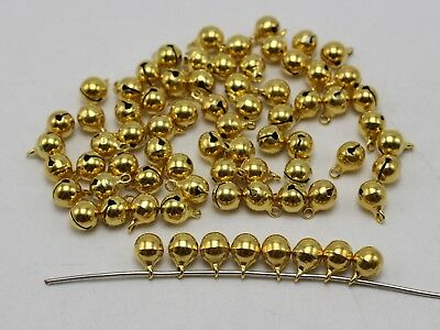 100 Golden JINGLE BELLS~Christmas Bell~Beads Charms 6mm Decoration DIY Craft