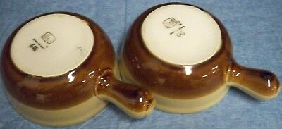 "Vintage Set of 2 Hall Pottery Onion Soup Bowls Brown Tan Handles Spouts 5 1/4"" D"
