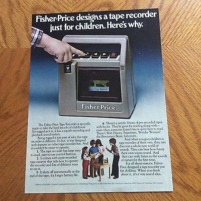 1982 Fisher-Price Print Ad - Tape Recorder - Pre-Recorded Tapes With Books