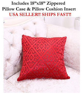"18x18 18"" RED HARLEQUIN DIAMOND Valentines Zippered Throw Pillow Cushion Mosaic"