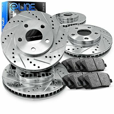 Front,Rear Eline Series Silver Drilled Slotted Brake Rotors + Ceramic Pads A2208