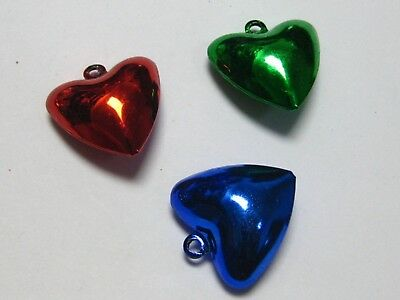 20 Mixed Color Christmas Heart Jingle Bells 20mm for Pet Dog Colllar