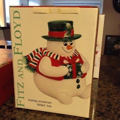 FITZ and FLOYD SNOWMAN LIDDED CONTAINER NEW IN BOX