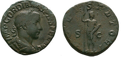 Ancient Rome 241-243 AD GORDIAN III Large SESTERTIUS JUPITER