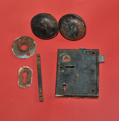 Antique Door Rim Lock Set with Knobs and Other Parts