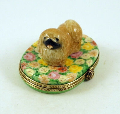 New French Limoges Trinket Box Cute Pekingese Dog Puppy On Chrysanthemum Flowers