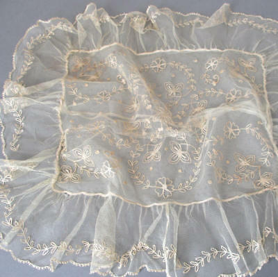 """Vintage AIRY French LACE Pillow Case TAMBOUR Embroidered FLOWERS Swags 22"""" X 20"""""""