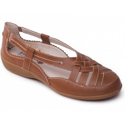 e5ffca7a069 Padders DELTA Ladies Womens Genuine Leather Extra Wide Slip On Summer Shoes  Tan