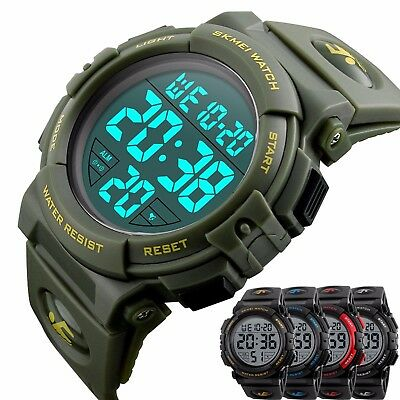 SKMEI Mens Large Numbers LED Digital Electronic Alarm Sport Military Wrist Watch