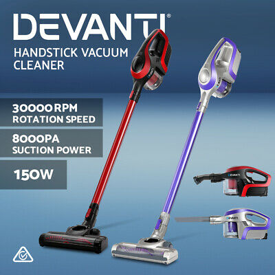 Devanti 120W 150W Stick Vacuum Cleaner Rechargeable Cordless Handheld Bagless