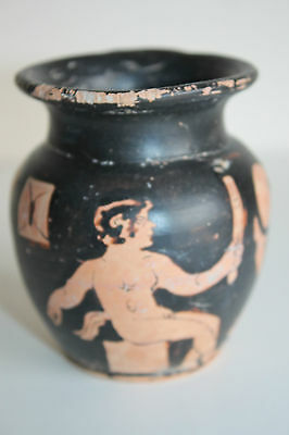 ANCIENT RED FIGURE SATYR GREEK POTTERY OLPE 4th CENTURY BC