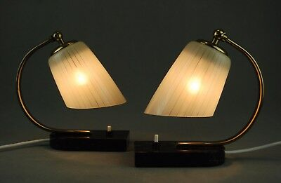 Pair of 1950s Bed Side Lamps Marble Mid Century Art Deco Atomic Vintage 40s 30s