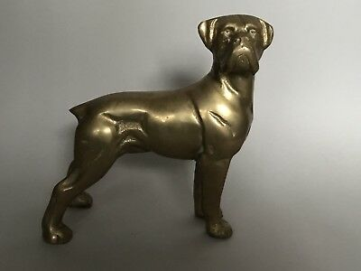 Ultra Dead Heavy Collectable Solid Brass French Boxer Dog Desk Doorstop 2.2Kg