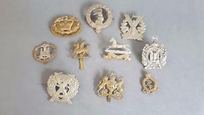 10 x 19th to Mid-20th Cent British Military Cap Badges & Sutherland Clan Badge