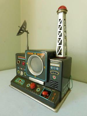 Rare Battery Operated Tin Toy Early Warning Radar Made in Japan c1950s