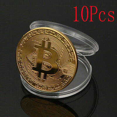 Lot 10 Bitcoin Commemorative Round Collectors Coin Bit Coin is Gold Plated Coins