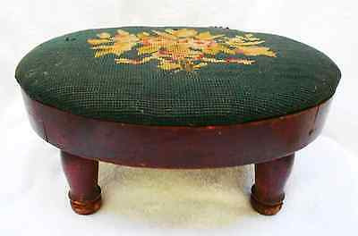 Vintage Handmade Navy Oval Flower Needlepoint Wood Leg Stool estate find